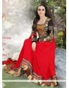Karishma Kapoor Red Georgette Designer Anarkali Suit
