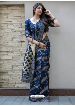 Navy Blue Banarasi Patola Silk Designer Saree