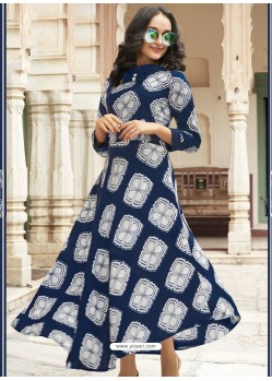 Navy Blue Heavy Rayon Digital Printed Kurti
