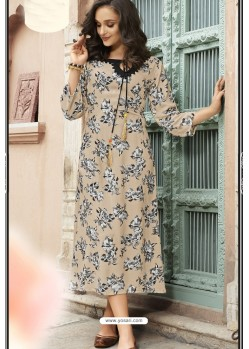 Cream Heavy Rayon Digital Printed Kurti
