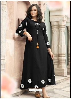Excellent Black Heavy Rayon Digital Printed Kurti