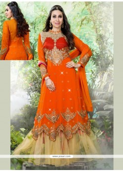 Karishma Kapoor Orange Georgette Anarkali Suit