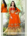Karishma Kapoor Orange Georgette Anarkali Suit