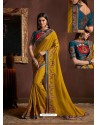 Marigold Chiffon Georgette Zari Embroidered Party Wear Saree
