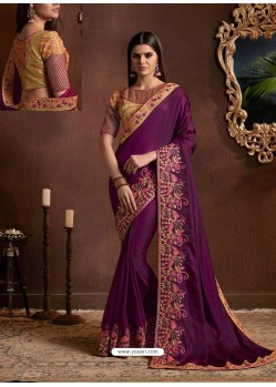 Purple Fancy Georgette Zari Embroidered Party Wear Saree