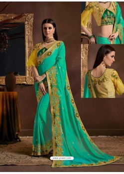 Aqua Mint Chiffon Georgette Zari Embroidered Party Wear Saree