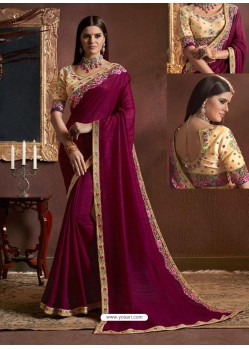 Deep Wine Fancy Georgette Zari Embroidered Party Wear Saree