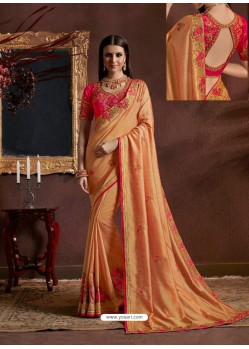 Light Orange Vichitra Fancy Georgette Zari Embroidered Party Wear Saree