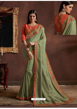 Olive Green Chiffon Georgette Zari Embroidered Party Wear Saree