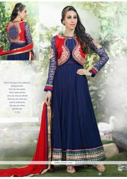 Karishma Kapoor Blue Net Designer Anarkali Suit