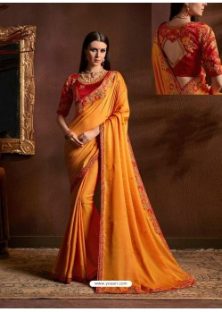 Glorious Orange Chiffon Georgette Zari Embroidered Party Wear Saree