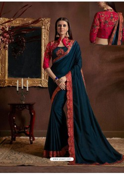 Navy Blue Chiffon Georgette Zari Embroidered Party Wear Saree