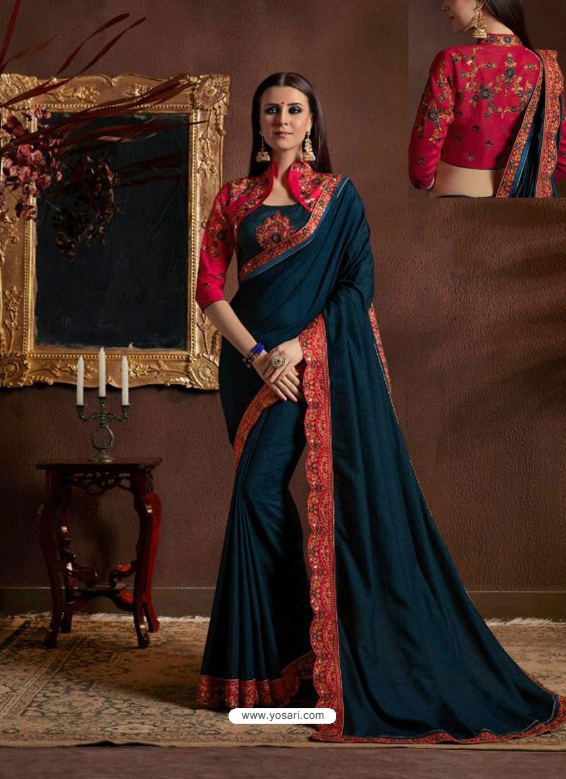 661be5a1a8 Buy Navy Blue Chiffon Georgette Zari Embroidered Party Wear Saree ...