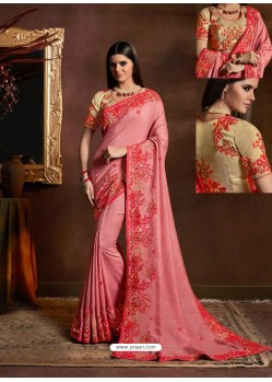 Light Pink Chiffon Georgette Zari Embroidered Party Wear Saree