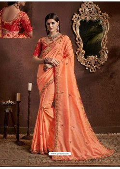 Orange Chiffon Georgette Zari Embroidered Party Wear Saree