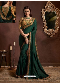 Dark Green Chiffon Georgette Zari Embroidered Party Wear Saree