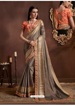 Grey Silk Jacquard Zari Embroidered Party Wear Saree