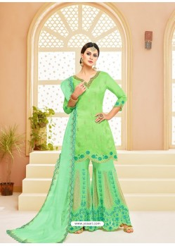 Green Upada Silk Heavy Embroidered Designer Palazzo Suit