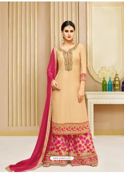 Beige Upada Silk Heavy Embroidered Designer Palazzo Suit