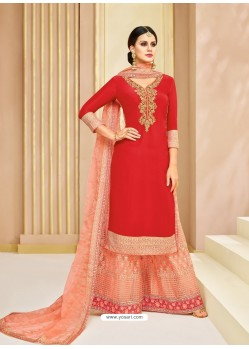 Red Upada Silk Heavy Embroidered Designer Palazzo Suit