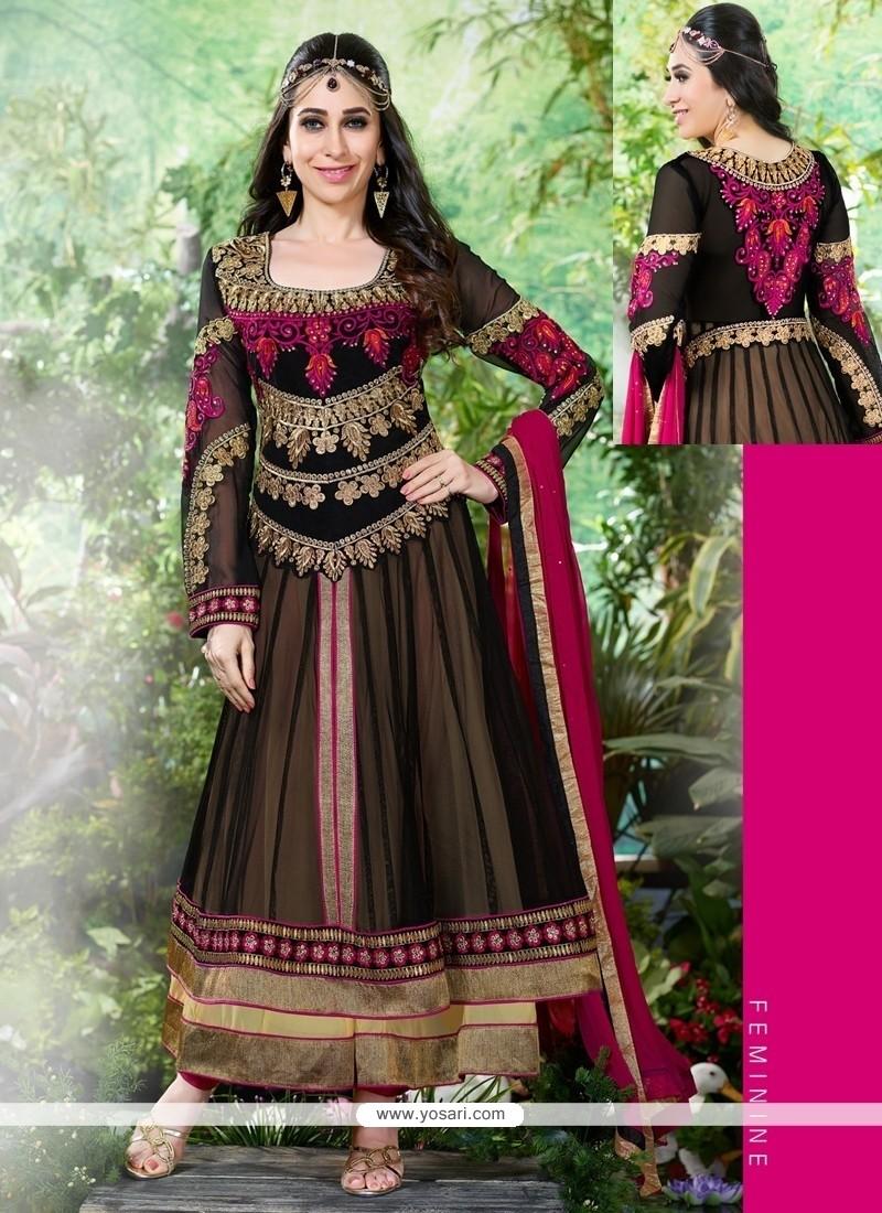 Karishma Kapoor Black Net Anarkali Suit