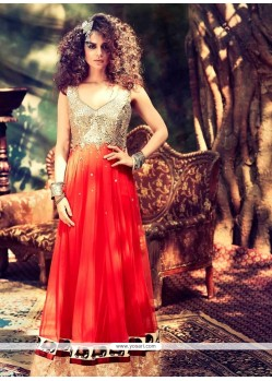 Kangana Ranaut Red Lace Work Anarkali Suit