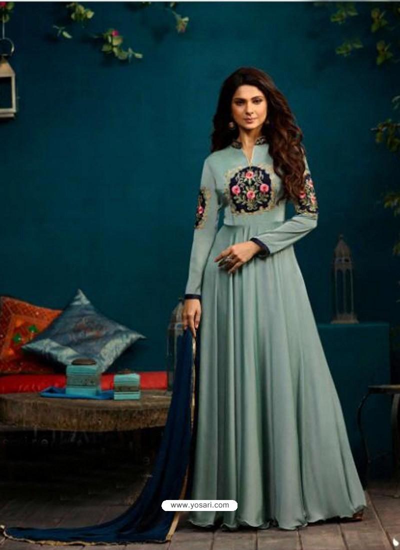 b9eb187272 Buy Sky Blue Silk Georgette Embroidered Anarkali Suit | Anarkali Suits