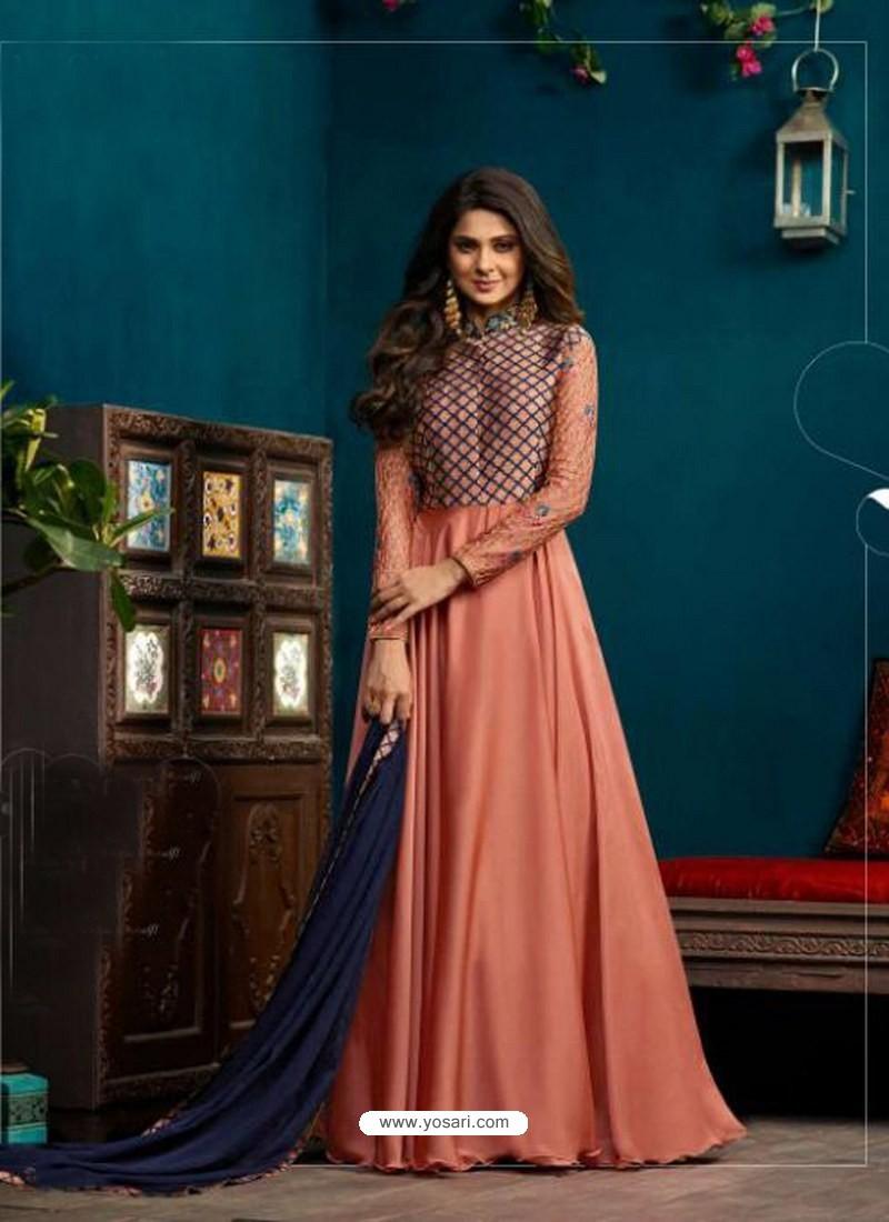 d53dc649b6 Buy Peach Banarasi Georgette Yoke Silk Embroidered Anarkali Suit ...