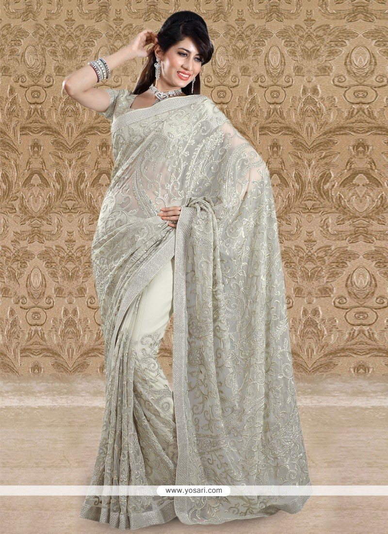 Off White Faux Georgette Designer Saree
