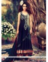 Navy Blue And Grey Chanderi Anarkali Suit