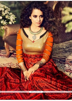 Kangana Ranaut Red Georgette Anarkali Suit