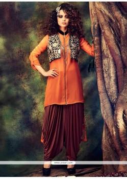 Kangana Ranaut Orange Georgette Punjabi Suit