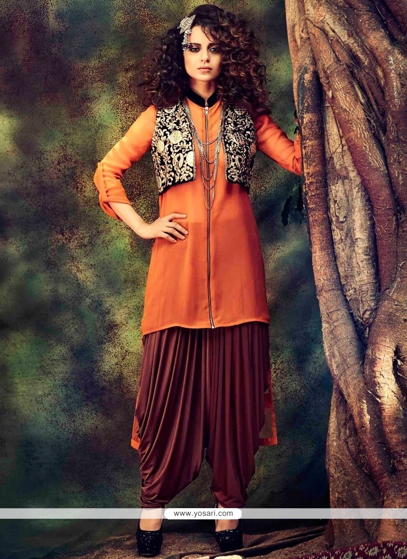 Kangana Ranaut Orange Georgette Punjabi Suit