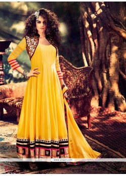 Kangna Ranaut Yellow Georgette Anarkali Suit
