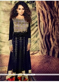 Kangana Ranaut Black Velvet Anarkali Suit