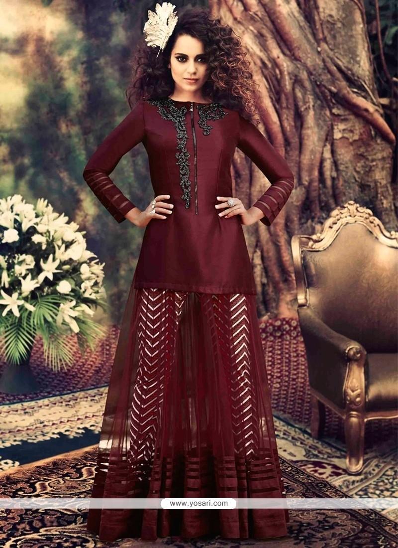 Kangana Ranaut Maroon Net Anarkali Suit