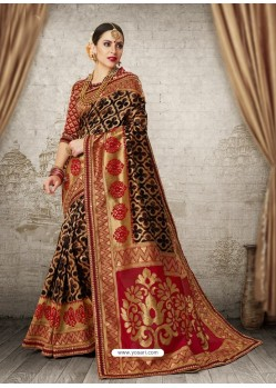 Black Silk Jacquard Work Party Wear Saree