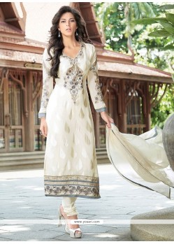 Stylish Off White Brasso Georgette Churidar Suit