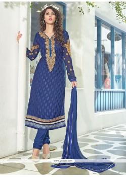Embellished Blue Brasso Georgette Churidar Suit