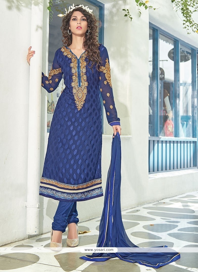 Embellished Blue Brasso Georgette Churidar Suit