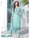 Elegant Turquoise Blue Brasso Georgette Churidar Suit
