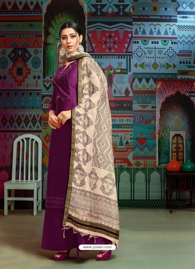 b1126c3c90 Buy Purple Modal Chanderi Cotton Embroidered Palazzo Suit | Palazzo ...