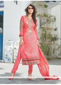 Awesome Pink Resham Work Churidar Suit