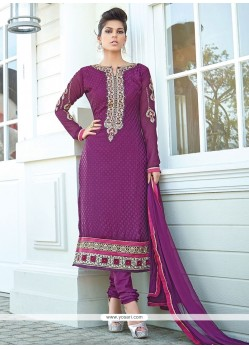 Ombre Purple Brasso Georgette Churidar Suit