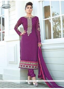 Ombre Purple Brasso Georgette Churidar Suit