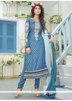 Blue Color Brasso Georgette Churidar Suit
