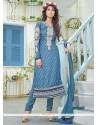 Blue Color Brasso Georgette Churidar Suit