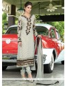Latest Grey Brasso Georgette Churidar Suit