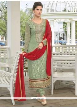 Modish Green Brasso Georgette Churidar Suit