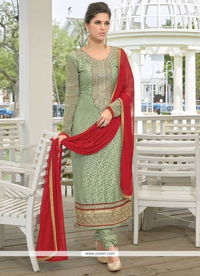 Modish Green Brasso Georgette Churidar Suit